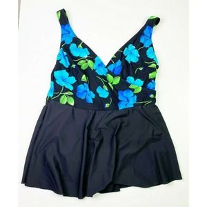 Shore Shapes Floral One piece Swim Suit Skirted 24